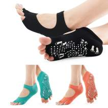 SOX TOWN Yoga Socks with Half Toe Non-Slip Toeless for Women Pure Pilates Barre Ballet Dance Barefoot Workout