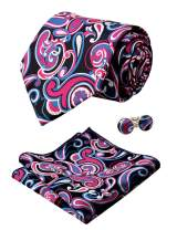 Alizeal Mens Floral Paisley Tie, Hanky and Cufflinks Set