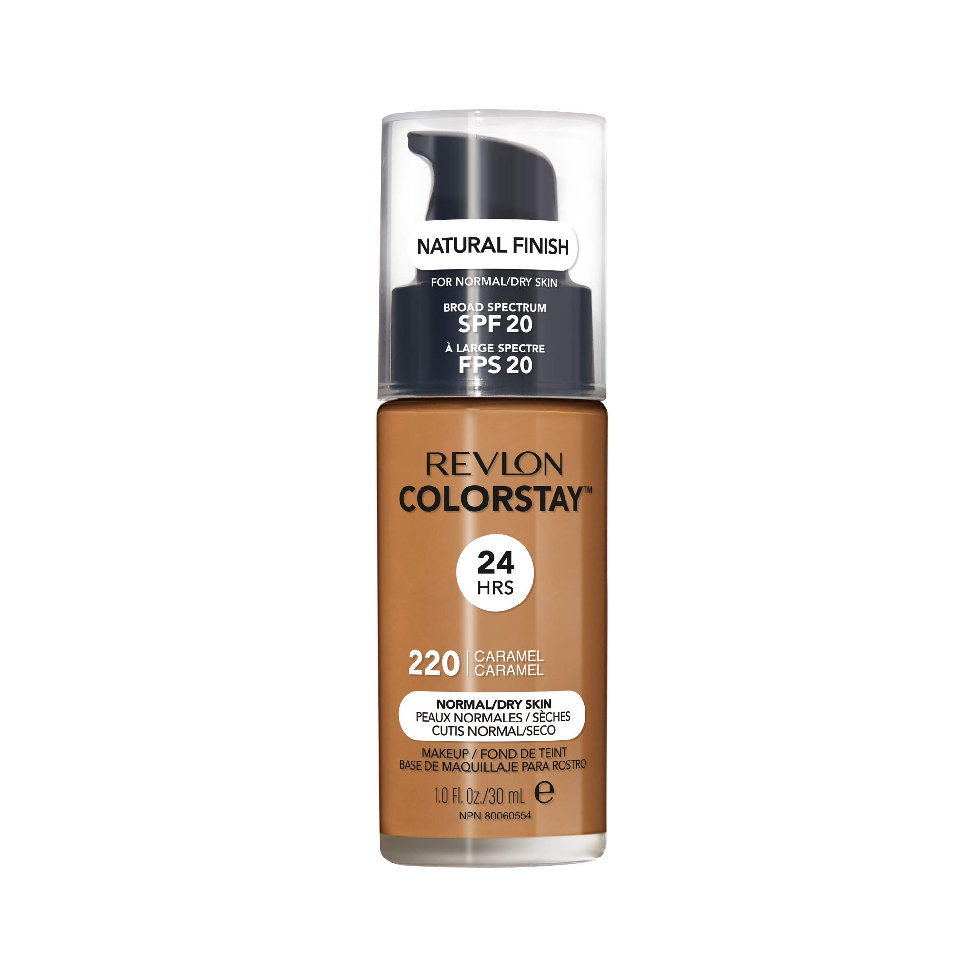 Revlon ColorStay Makeup for Normal/Dry Skin SPF 20, Longwear Liquid Foundation, with Medium-Full Coverage, Natural Finish, Oil Free, 400 Caramel, 1.0 oz