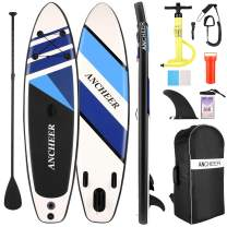 ANCHEER Inflatable Stand Up Paddle Board, All-Round SUP Board with Premium SUP Accessories Including Backpack, Bottom Fin for Paddling, Waterproof Bag, Leash, Adjustable Paddle and Hand Pump