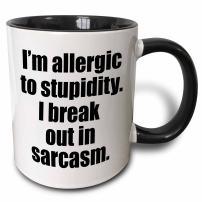 3dRose I'm Allergic To Stupidity I Break Out In Sarcasm Two Tone Mug, 11 oz, Black