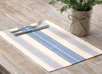 VHC Brands Farmhouse Tabletop & Kitchen-Cadence Blue Ribbed Table Décor, Placemat Set 12x18