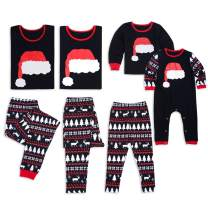 Christmas Hat Family Matching Xms Pajamas,Cotton Sleepwear Holiday PJs Sets Dad S