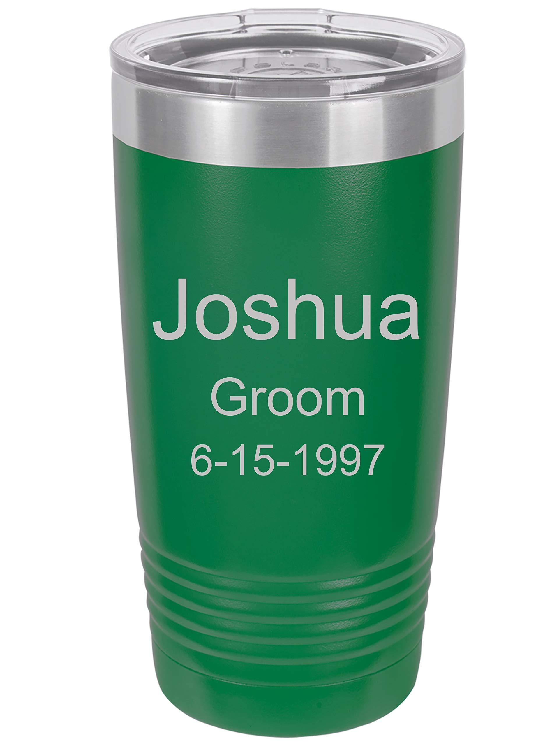 Personalized Name Double wall vacuum insulated tumbler 20 or 30 ounce (20 ounce, Green)