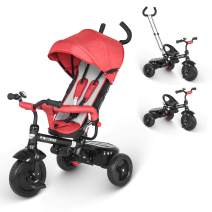 besrey Tricycle 4 in 1 Toddler Tricycle with Parent Handle for 1 to 6 Years Old, Gray, Red