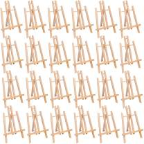 """MEEDEN 24 Pcs 11.8"""" Tall Tabletop Easel - A-Frame Small Solid Beech Wood Easel Painting Display Easel, Hold Canvas Art up to 12"""" High"""