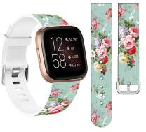 Bands for Fitbit Versa 3 Silicone Designer & Cisland Durable Design Patterned Print for Women Girls Strap Replacement Compatible with Fitbit Sense/Versa 3 Small Large + Green Flower Floral