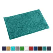 LuxUrux Bath Mat-Extra-Soft Plush Bath Shower Bathroom Rug,1'' Chenille Microfiber Material, Super Absorbent Shaggy Bath Rug. Machine Wash & Dry (20 x 30, Turquoise)