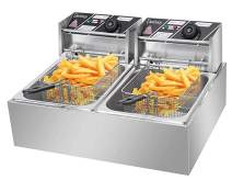 Stainless steel double-cylinder electric fryer countertop Fryer Large space Fryer (12.7QT/12L 5000W,Ship from U.S)
