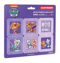Magformers Paw Patrol 12 Pieces Skye & Friends add on, Pink and Purple Colors, Educational Magnetic Geometric Shapes Tiles Building STEM Toy Set Ages 3+