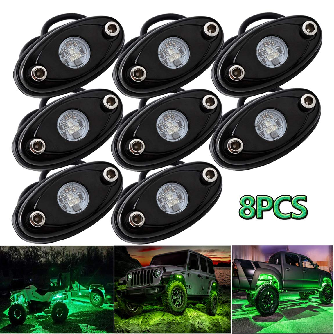 LEDMIRCY LED Rock Lights Green Kit 8PCS for JEEP Off Road Truck Car Boat ATV SUV Waterproof High Power Underbody Neon Trail Lights Underglow Lights Interior Exterior Shockproof(8PCS-Green)