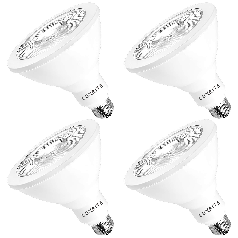 Luxrite PAR38 LED Flood Light Bulb, 100W Equivalent, 3000K Soft White Dimmable, 1160 Lumens, 16.5W LED Flood Bulb, Energy Star & UL Listed, E26 Base, Damp Location - Indoor/Outdoor (4 Pack)