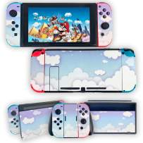 Finyosee Clouds Switch Skin Sticker Sky Pattern Wrap Skin Protective Vinyl Decal Film Sticker,Full Set Compatible with Nintendo Switch Console, Joy-Con, Dock with 2 pcs Thumb Grips