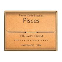Morse Code Bracelet 14k Gold Plated Beads on Silk Cord Secret Message Pisces Zodiac Bracelet Gift Jewelry for Her