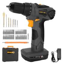 DETLEV PRO Cordless Drill Driver Electric Screwdriver 2 Speed Max Torque 372In-lbs 1.5Ah Lithium Ion with LED (grey)