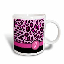"3dRose 154411_2""Personalized Initial J Monogrammed Hot Pink And Black Leopard Pattern Animal Print Mug, 15 oz"
