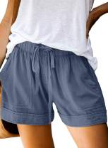 FZ FANTASTIC ZONE Womens Casual Shorts Elastic Waist Drawstring Pockets Summer Workout Short Pants