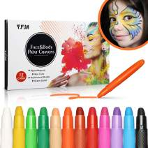 Paint Crayons Kit, Y.F.M. 12 Color Face Paint Crayon Safe & Non-Toxic Face and Body Crayons Suitable for Makeup Parties, Cosplay or Others
