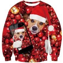 UNICOMIDEA Ugly Christmas Sweatshirt Stylish 3D Novelty Xmas Santa Sweater Pullover Jumpers for Holidays S-3XL
