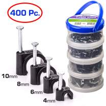 QualGear 4mm 6mm 8mm 10mm Cable Clips, Black, 400 Pack, Canister, CCX2-B-400-C