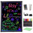 """Slsy Illuminated LED Message Writing Board, 20""""X28"""" Erasable Neon Effect Menu Sign Board with 8 Fluorescent Makers,12Colors Flashing Modes,Remote Control Message Board"""