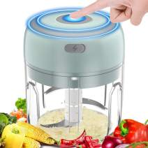Electric Garlic Chopper 250ML, BYXAS USB Rechargeable Powerful Mincer Portable Slicer Household Grinder for Fruits, Onion, Grinder, Meat, and Salad - Green
