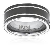Nuni Jewelry Tungsten Ring Elegant Wedding Band with Black Ring Double Silver Grooved Design–Tungsten Carbide 8mm Wedding Band for Men and Women–Comes in A Protective Velvet Pouch