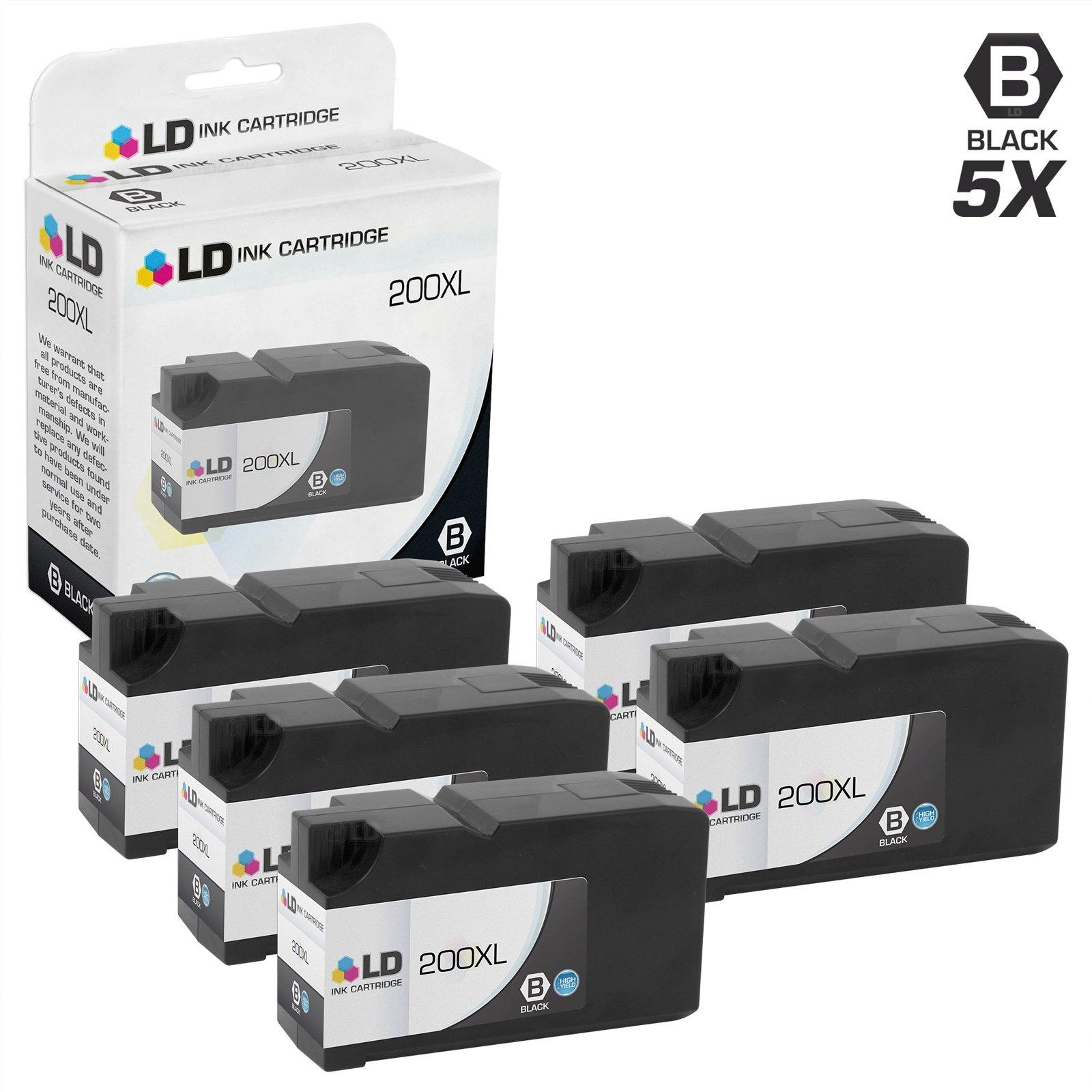 LD Compatible Ink Cartridge Replacement for Lexmark 200XL 14L0174 High Yield (Black, 5-Pack)