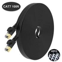 NIAFEYA Cat7 Ethernet Cable 25ft Shielded,Solid Flat-STP Slim Network Patch Cord,Faster Than Cat5/Cat6 Network,Durable Cat7 High Speed RJ45 LAN Wire for Xbox,Router,Modem,PS3/4 (Black)