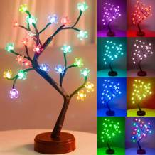 Pooqla RGB Cherry Blossom Tree Light with Remote Control 16 Color-Changing LED Artificial Flower Bonsai Tree Table Top Lamp Modern Home Lit Tree Centerpieces Decoration 24 LED
