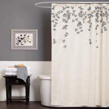Lush Decor A00516Q12 Drop Shower Curtain, Ivory/Blue