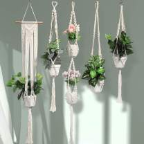 DELXO Plant Hangers Set of 5 Indoor Outdoor Wall Hanging Plant Holder with 10 Hooks Handmade Cotton Hanging Planter Basket Stand Flower Pot Holder for Bohemian Wall Home Decor