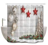 LB Merry Christmas Shower Curtain Sets,Unique Design Wood Plank with Christmas Balls Bells Stars Print Funny Christmas Ornament Shower Curtain for Kids,60x72 Inch Polyester Fabric with 10 Hooks