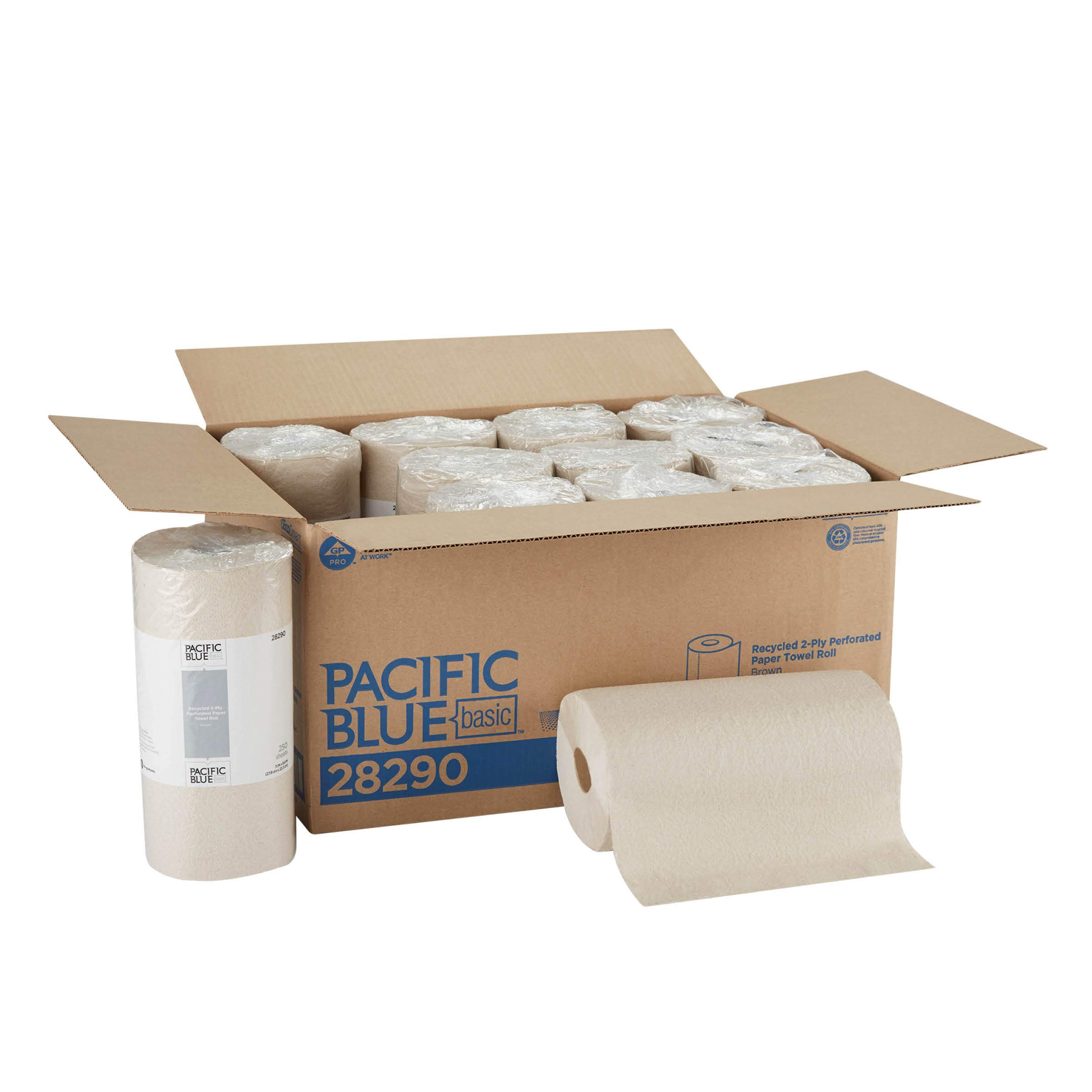 Pacific Blue Basic 2 Ply Recycled Perforated Paper Towel Roll Previously Branded Envision by GP PRO Georgia-Pacific Brown 28290 250 Sheets Per Roll 12 Rolls Per Case