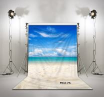 LB Hawaii Beach Backdrop for Photography Background 5x7ft Seamless Washable Muslin Tropical Sea Luau Backdrops for Child Baby Shower Birthday Party Portraits Photo Booth Backdrop