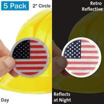 "SmartSign""US Flag"" Pack of 5 Hard Hat Labels 