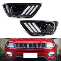 iJDMTOY Switchback LED Daytime Running Light Kit Compatible With 2017-up Jeep Compass, OEM Replacement White/Amber LED Bezel Assembly w/Sequential Flash Turn Signal Function