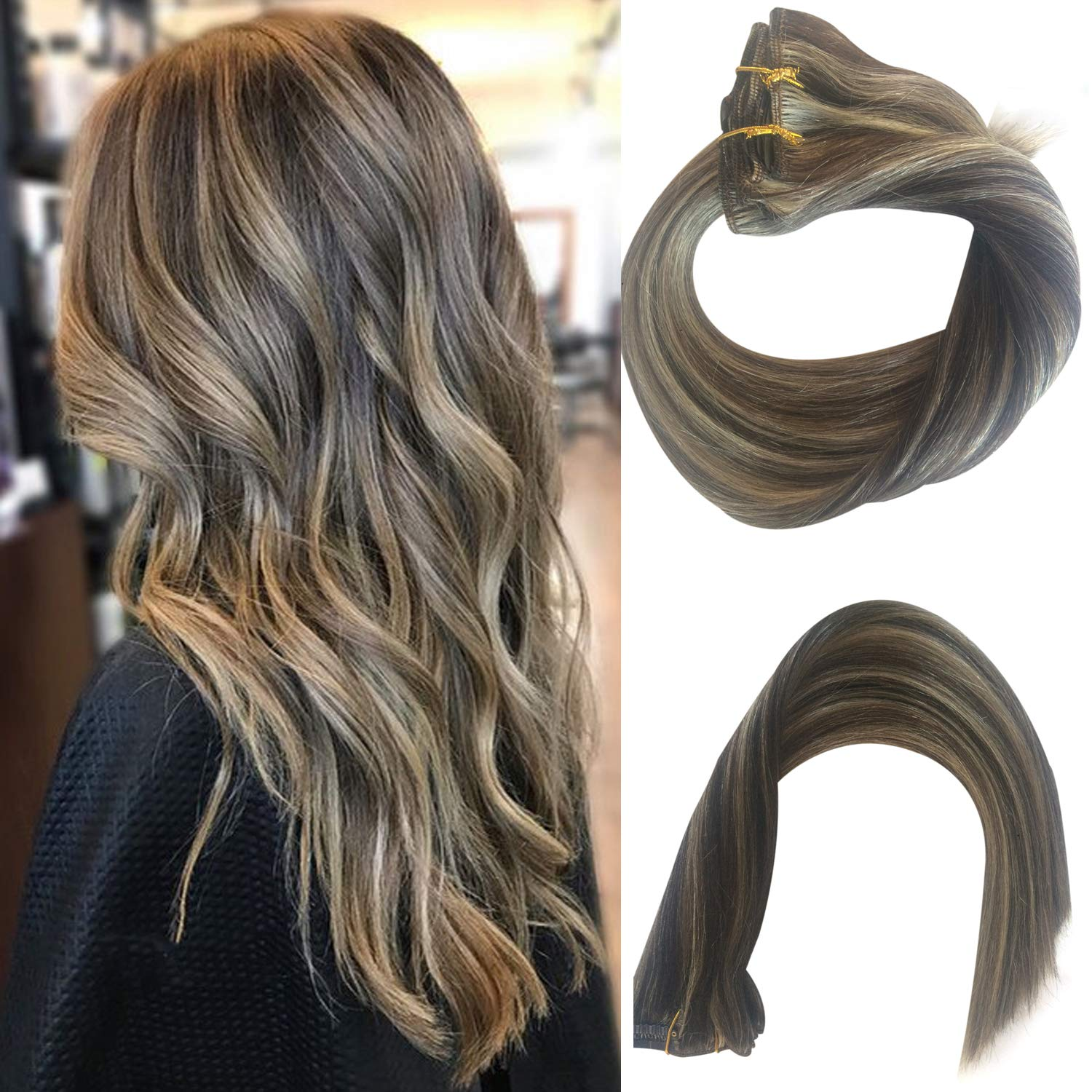 """18"""" Clip in Hair Extensions Dark Brown to Bleach Blonde Highlights for Beauty - Short Silky Straight 7pcs Real Hair Extensions Clip In Human Hair(18inch #2/613)"""