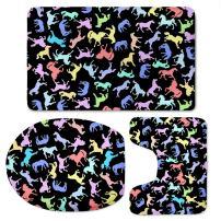 CHAQLIN Funny Black Modern Home Decor Horse Bathroom Carpet/Contour/Lid Cover Anti-Slip 3 Piece Set Washable