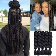 """Kanekalon Black Braiding Hair 1B Extensions 5Pcs/Lot 24"""" Ombre Jumbo Braiding Hair (Black)"""