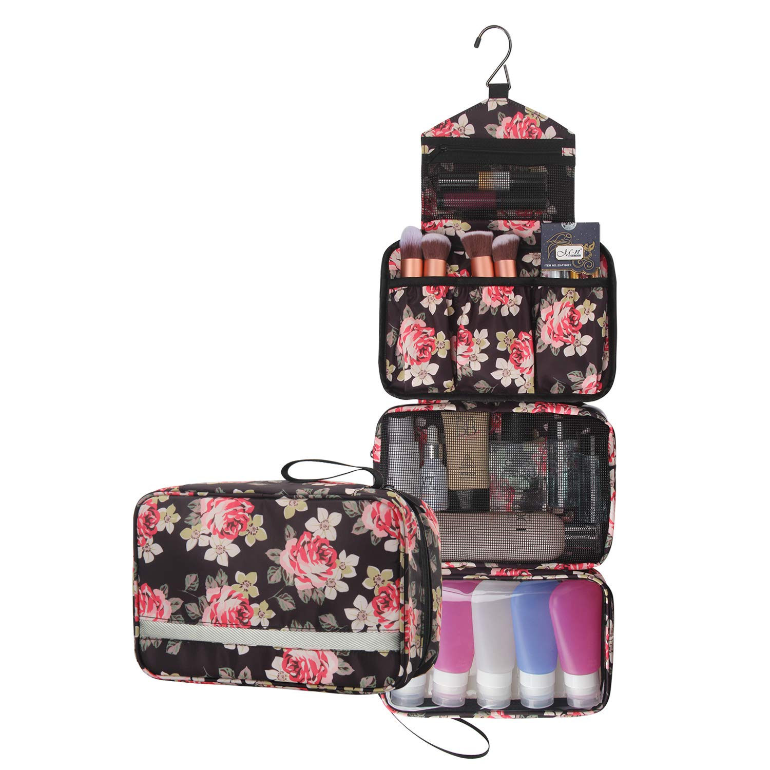 Travel Toiletry Bag Business Toiletries Bag For Men Shaving Kit Waterproof Compact Hanging Travel Cosmetic Pouch Case For Women Black Peony Pattern