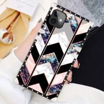 SOKAD iPhone 11 Case 6.1 Inch Square Wave Geometric Marble Luxury Elegant Soft TPU Shockproof Protective Metal Decoration Corner Back Cover Case