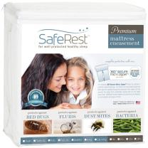 SafeRest Premium Zippered Mattress Encasement - Lab Tested Bed Bug Proof, Dust Mite and Waterproof - Hypoallergenic, Breathable, Noiseless and Vinyl Free (Fits 6-9 in. H) - Cal King Size