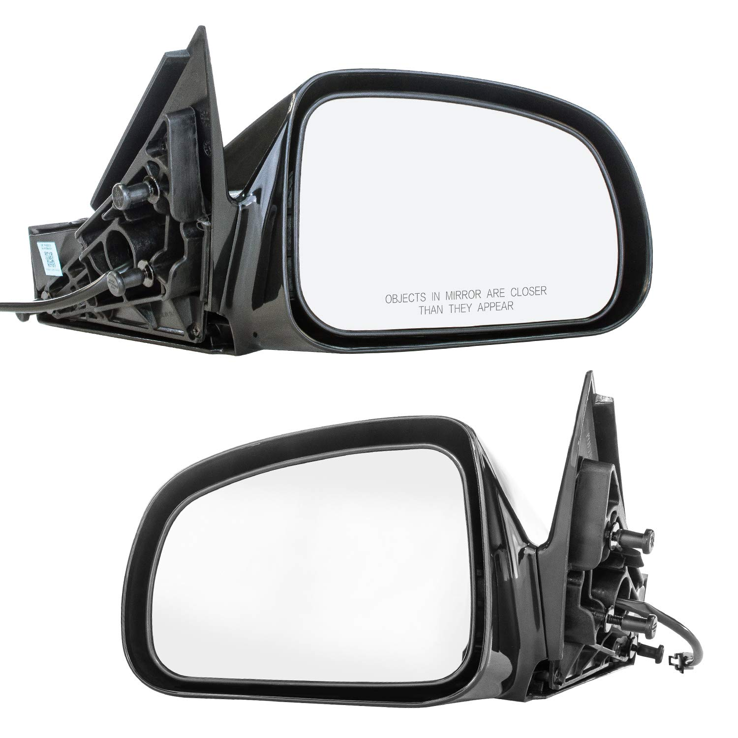 Driver and Passenger Side Mirrors for Pontiac Grand Prix (2004 2005 2006 2007 2008) Black Non-Heated Non-Folding OE Replacement Outside Rear View Door Mirrors