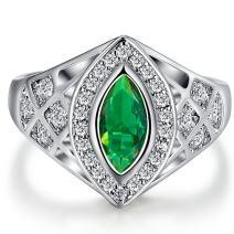 Narica Womens Brilliant 5mmx10mm Marquise Cut Emerald Quartz CZ Engagement Ring