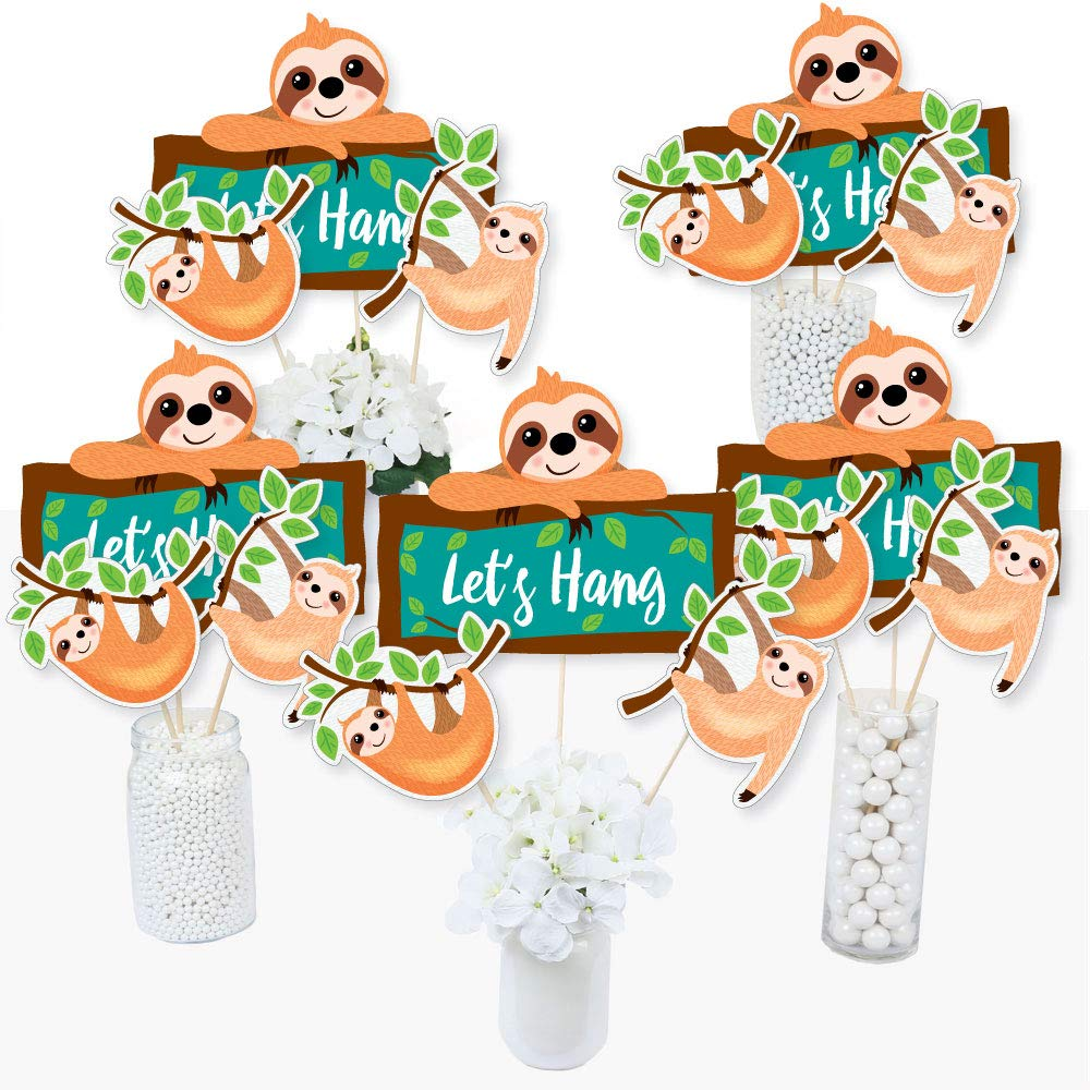 Let's Hang - Sloth - Baby Shower or Birthday Party Centerpiece Sticks - Table Toppers - Set of 15