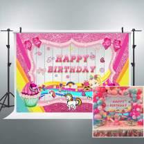 Riyidecor Happy Birthday Colorful Cartoon Backdrop Pink Unicorn Sweet Girl Princess Dream Glitter 7x5 Feet Photography Backgrounds Kid Party Cake Table Banner Decor Celebration Photo Props Shoot Vinyl