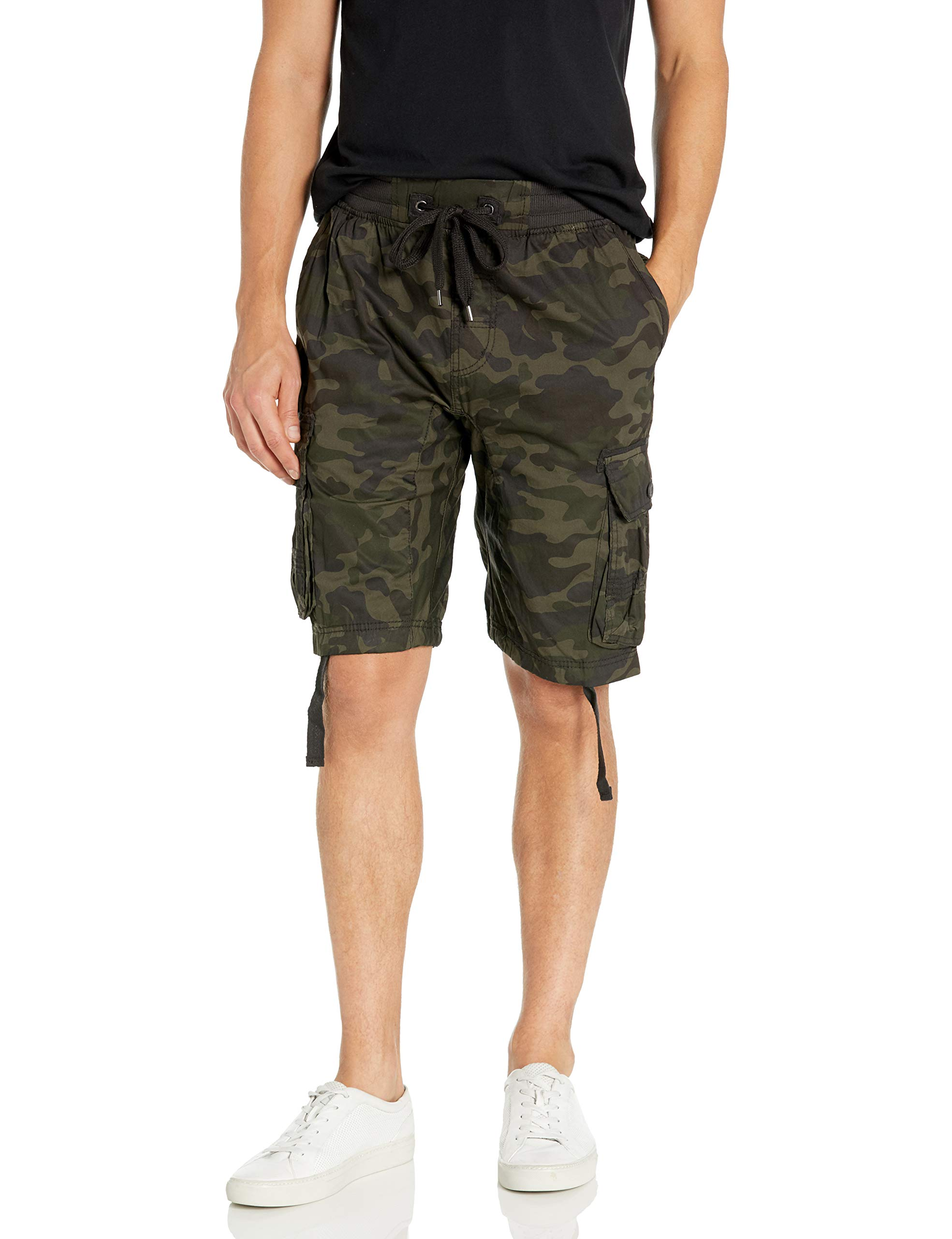 Southpole Men's Jogger Shorts with Cargo Pockets in Solid and Camo Colors