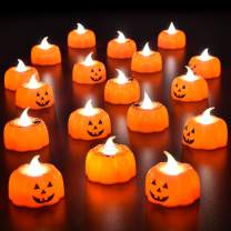 "18PCs Halloween party favors 3D Pumpkin Flameless Candle Battery Operated LED Candle for Halloween Decorations,Themed Party Supplies,1.9""x1.7"", Warm White Flickering"