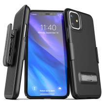 Encased iPhone 11 Belt Clip Case with Kickstand (2019 Slimline) Ultra Thin Cover with Holster - Black